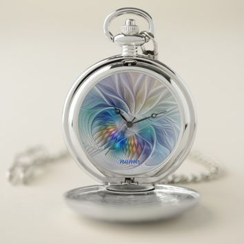 Floral Fantasy, Colorful Abstract Flower, Name Pocket Watch