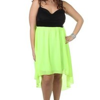 plus size corset style neon yellow high low dress - debshops.com