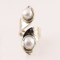 Pearl Two Tone Sterling Silver Adjustable Ring