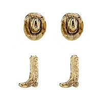 Bourbon & Boots Duo Hat and Boot Stud Earrings | Dillards.com