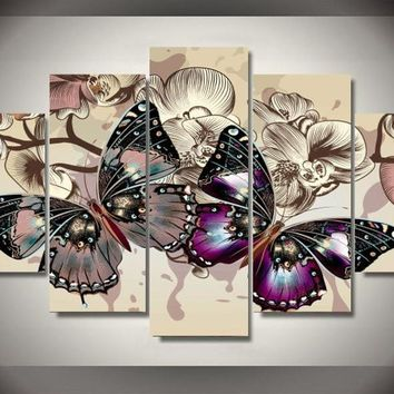 5 Pieces/set Butterflies Wall Art Pictures for Home Decoration abstract Painting Print on Canvas Fresh Red Flower Frameless