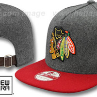 Blackhawks 2T MELTON A-FRAME STRAPBACK Hat by New Era