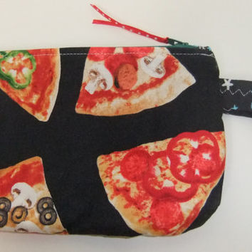 Zip Pouch - Phone Pouch - Pizza fabric