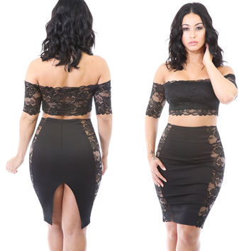 Black Off-Shoulder Floral Sheer Lace Paneled Crop Top and Bodycon Skirt
