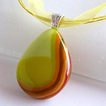Yellow, Orange and Spring Green Fused Glass Pendant