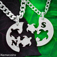 Interlocking Turtle Necklaces with your initials necklaces, hand cut coin