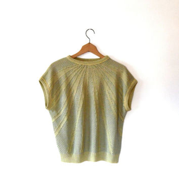 Pale green and yellow pointelle sweater. open knit. ribbed jumper. 40s / 50s style. vintage. 1970s. round collar. short sleeve knitted top