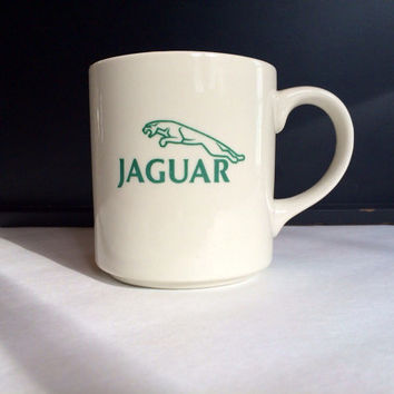 Vintage Jaguar Ceramic Coffee Mug / Coffee Cup / Novelty Mug / Novelty Cup / Office Decor: White Ceramic, Hunter Green Jaguar Logo