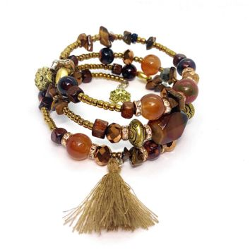 ON SALE - Bohemian Chic Brown Multi Layered Coil Bracelet