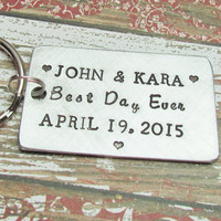 Keychain Wedding Key Chain CUSTOM Hand Stamped Brushed Aluminum Made To Order Engagement Date Couples Bride Groom