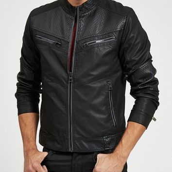 Textured Zipper Jacket | GUESS.com
