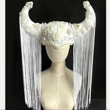 white buffalo headpiece crown cosplay hair accessories iron chain macrame mask