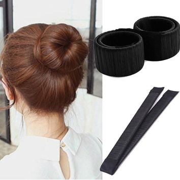 2pcs Hair Styling Bun Maker With A Clip Curler