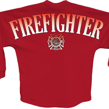 Firefighter pom print J america women Long sleeve shirt