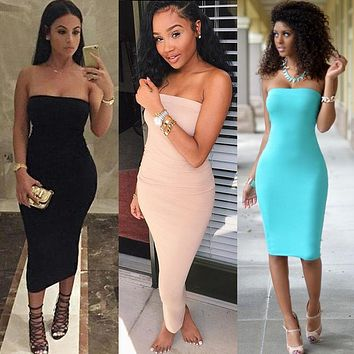Sexy strapless women summer white black midi dress 2016 new fashion brief slim club bodycon bandage party dresses