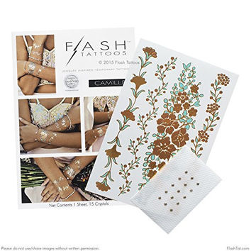 Flash Tattoos- CAMILLE- Authentic Metallic Temporary Jewelry Tattoos (Rose gold & mint) with Swarovski crystals