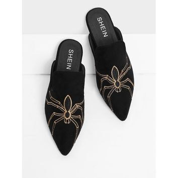 Spider Embroidery Suede Flat Mules