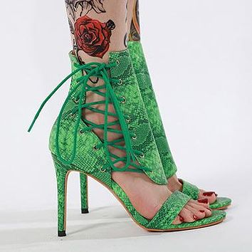 Selling Fashion Women's Serpentine Lace-colored Open-toed Slim High-heeled Shoes