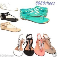Women's Causal Studded T-Strap Metallic Accent Flat Sandal Shoes Size 5 - 10 NEW