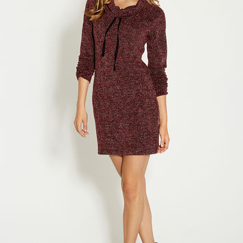 french terry sweatshirt dress with cowl neck