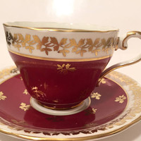 Red and Gold Aynsley Teacup, Aynsley England, Vintage Teacup and Saucer Set, English China