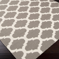 Frontier Area Rug | Gray Geometric Rugs Hand Woven | Style FT122