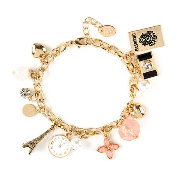 Gold Passport to Paris Charm Bracelet