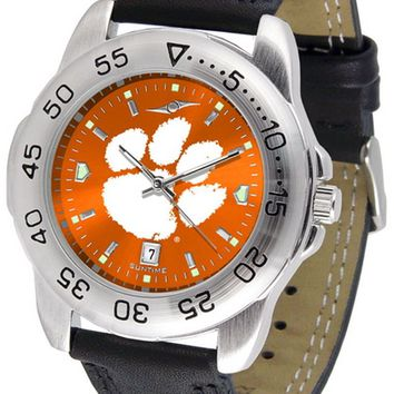 Clemson Tigers Mens Sport Watch Anochrome Leather Band