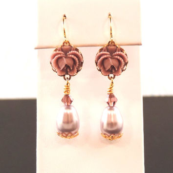 Mauve Ruffled Resin Rose Earrings - Mauve Swarovski Teardrop Pearl, Glass Beads, Gold, Wire Wrapped Setting-Brisdemaid Gifts, Birthdays