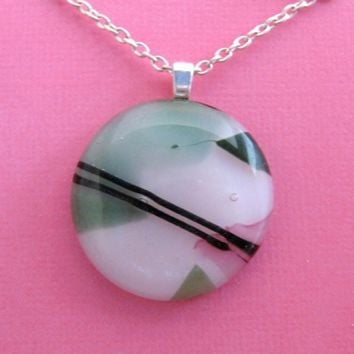Lovely Round Fused Glass Pendant and Necklace by mysassyglass
