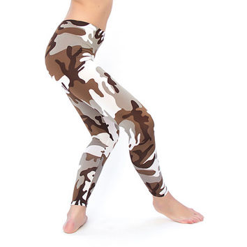 Camo leggings for women in Brown colors, Military Spring leggings