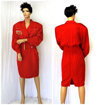Nautical red dress / size 7 / 9 / 80s red gold sailor dress / embroidered embellished retro 1980s navy style dress / SunnyBohoVintage