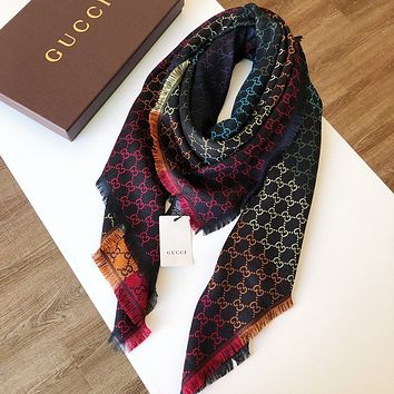 """Gucci"" Women Temperament Fashion Classic Rainbow Color Dreamlike Pure Silk Tartan Two-faced Embroidery Tassel Wool Shawl Scarf"