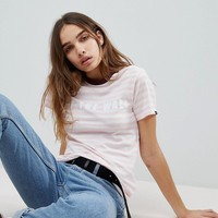 Vans Exclusive To Asos Off The Wall T-Shirt In Pink Stripe at asos.com