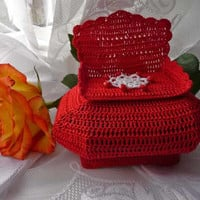 Crochet Red jewelry box -  Red box - Housewarming gift - Home decor - Handmade box - box for Jewerly - gift for Her - decorative box