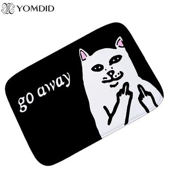 Cat With Middle Finger Door mats Coral velvet carpet Humorous Funny Words Go Away Entrance Indoor Floor Mat Non-slip Doormat rug