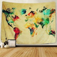"Sunlightfree Colorful Watercolor World Map Tapestry Map Tapestry Wall Hanging Bedroom Living Room Dorm Home Decor Tapestry (Small/59.1"" X 51.2"")…"
