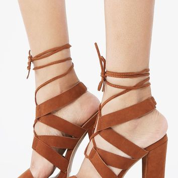Qupid Beat-16a Lace Up Chunky Heels