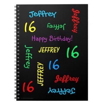 16th Birthday Party Guest Book, Repeat Name Black Notebook