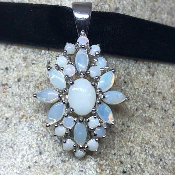Vintage Genuine White Opal 925 Sterling Silver Pendant Necklace