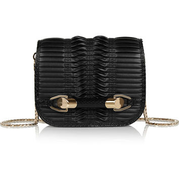 Jimmy Choo - Zadie small elaphe-trimmed pleated leather shoulder bag