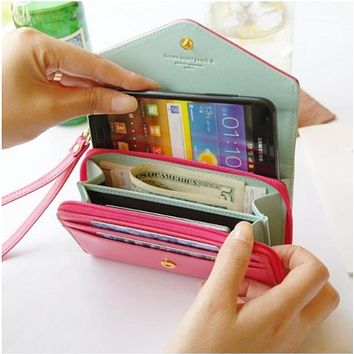 Wallet Women's Fashion Lovely Crown Concise Wallet Purse Cluth cute Card Holders Mobile Phone Bags for iPhone 5 Samsung S3