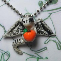 Skull Dragon Halloween Necklace Jewelry by Girlwithafrogtattoo on Zibbet