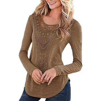 Women Ladies Loose Crochet T Shirt Sexy Hollow Out Long Sleeve Solid Color Cotton Tee Shirt Tops BTS pullover christmas hoodie
