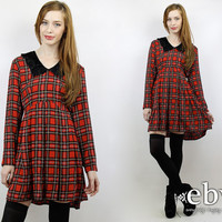 Vintage 90s Red Plaid Babydoll Dress M L 90s Dress Dolly Dress Red Plaid Dress Plaid Mini Dress Tartan Plaid Dress 90s Grunge Dress