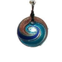 Large Round Glass Pendant Colors of Fall Blue Gold Copper Swirl Wire Wrapped with Gold Tone Necklace Free Shipping