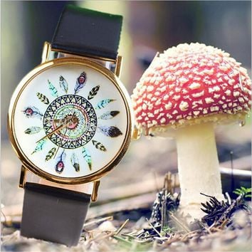Retro Geneva Quartz Wrist Watch Dream Catcher Peacock Feather Summer Bracelet