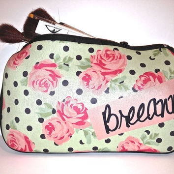 Custom Personalized Cosmetic Bag- polka-dot and heart roses pattern makeup bag- Great Bridal / bridesmaid gift idea birthday gift