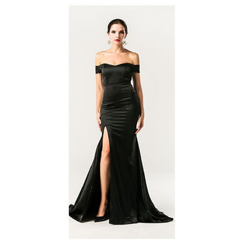 Black Off Shoulder Gown