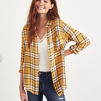 Girls Plaid Oversized Shirt | Girls Tops | HollisterCo.com